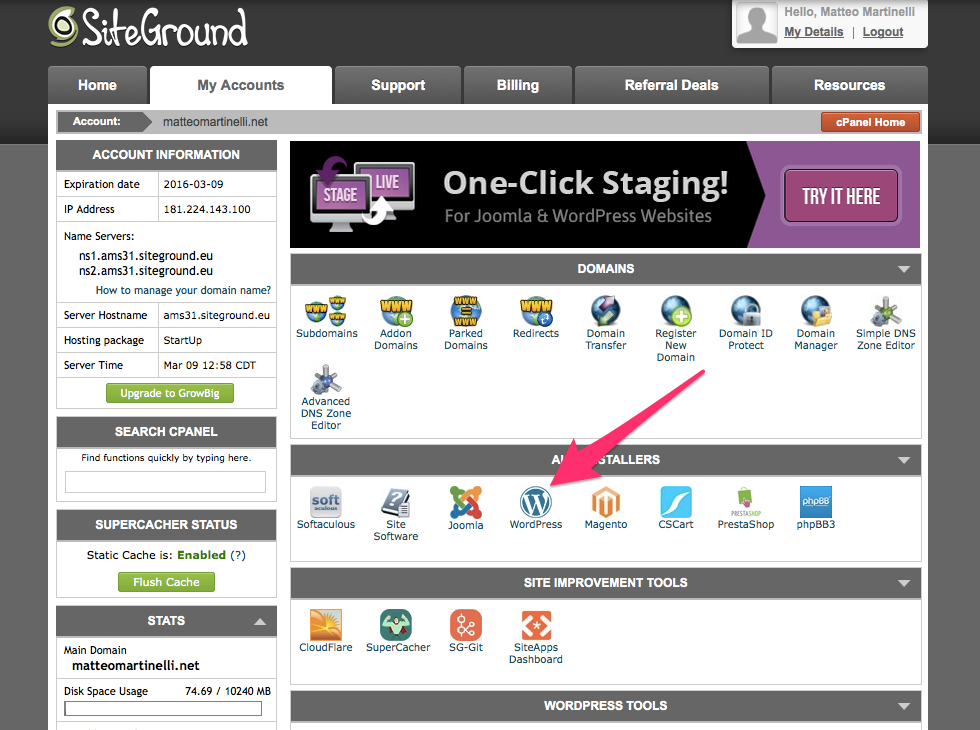 Wordpress su siteground