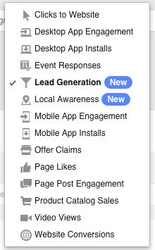 Facebook ads goals