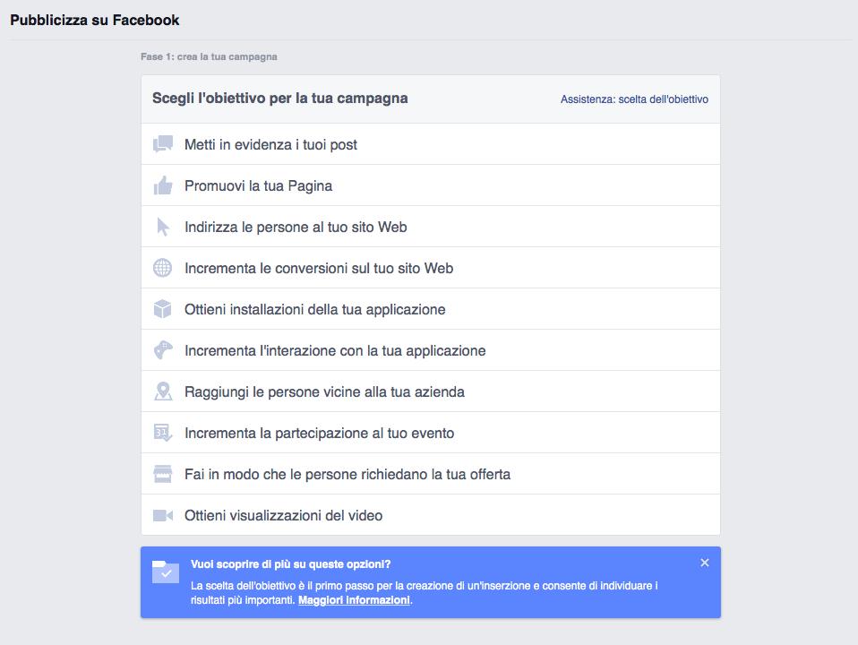 scelta obiettivi pubblicità facebook